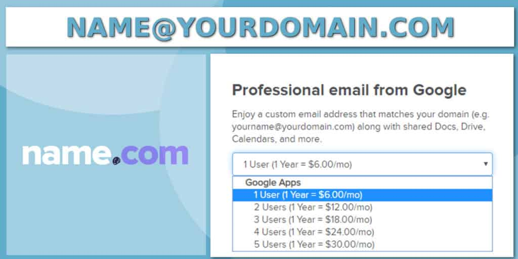 name.com custom email options for domain